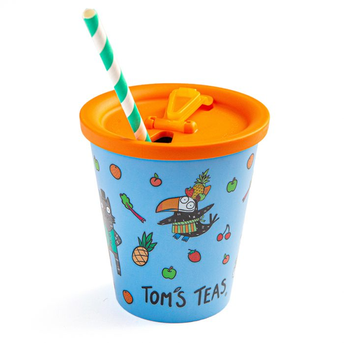 Tom's Teas eco-friendly Cups & Lids (Blue)